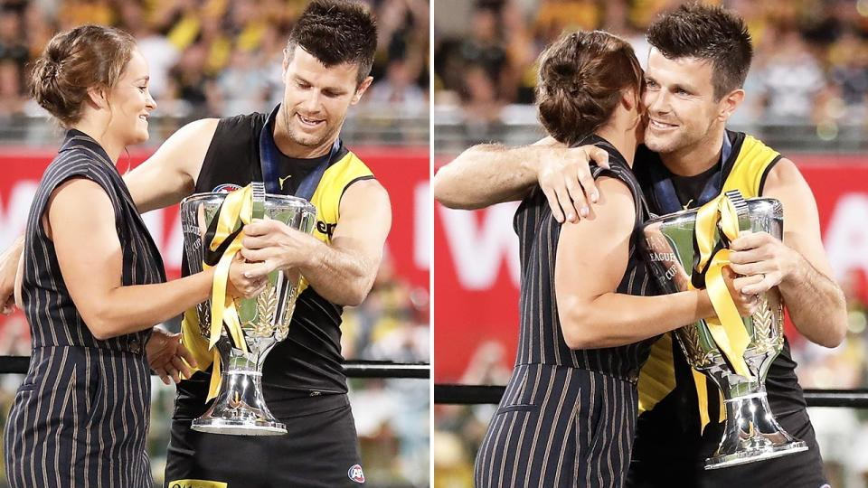 Ash Barty, pictured here presenting the cup to Richmond captain Trent Cotchin.