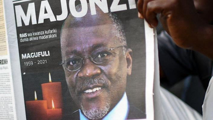"""A Tanzanian newspaper with the headline """"Majonzi"""", meaning """"Grief"""" in Swahili - Thursday 18 March 2021"""