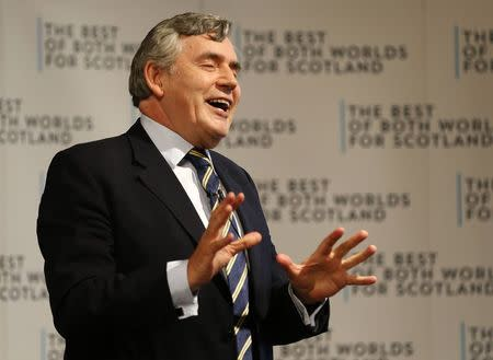 "Former British Prime Minister Gordon Brown speaks at a ""Better Together"" rally in Dundee"
