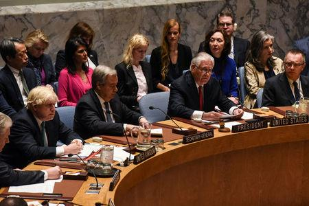 U.S. Secretary of State Rex Tillerson speaks at a Security Council meeting on the situation in North Korea at the United Nations, in New York City, U.S., April 28, 2017. REUTERS/Stephanie Keith