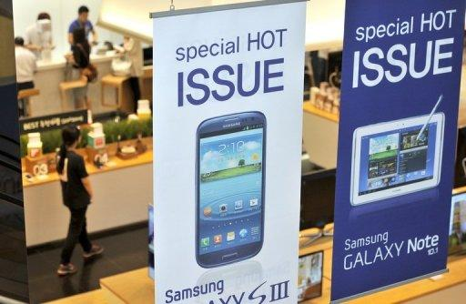 Signboards at a Samsung showroom in Seoul. Apple won more than $1 billion in a massive US court victory over Samsung on Friday, in one of the biggest patent cases in decades -- a verdict that could have huge market repercussions