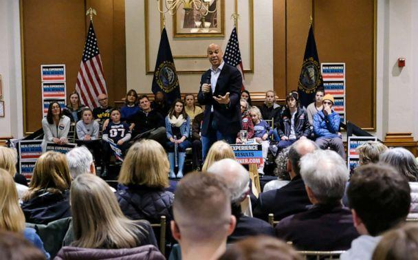 PHOTO: Presidential candidate Cory Booker addresses his supporters at the University of New Hampshire, in Durham. (Preston Ehrler/SOPA Images/LightRocket via Getty Images)