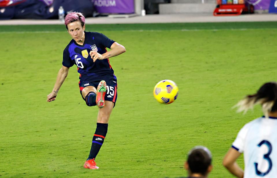Megan Rapinoe kicks the ball during the USWNT's win in the  She Believes Cup match against Argentina at Exploria Stadium.