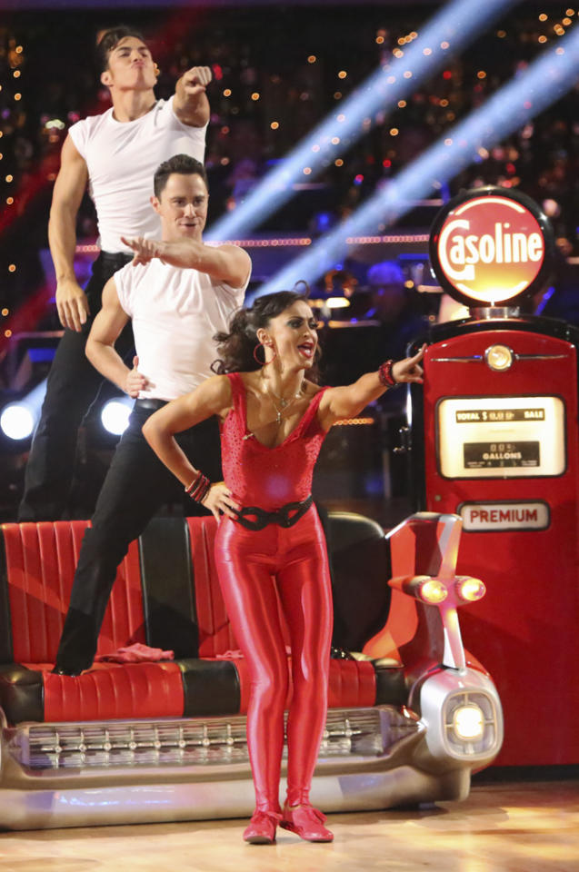 "Apolo Anton Ohno, Sasha Farber and Karina Smirnoff perform on ""Dancing With the Stars: All-Stars."""