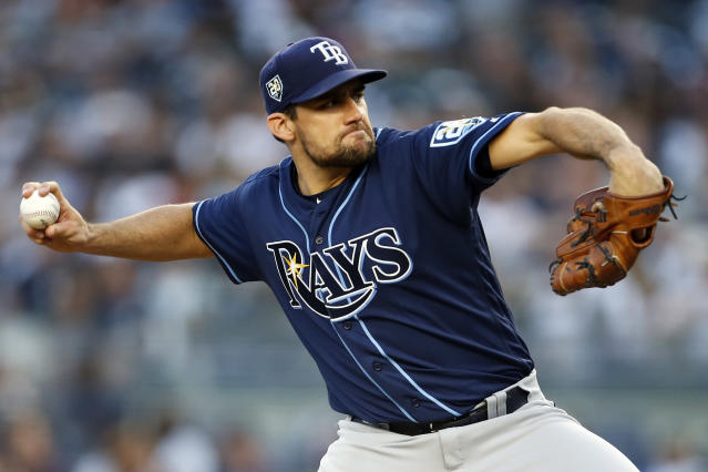 Tampa Bay Rays pitcher Nathan Eovaldi delivers during the third inning of a baseball game against the New York Yankees, Friday, June 15, 2018, in New York. (AP Photo/Adam Hunger)