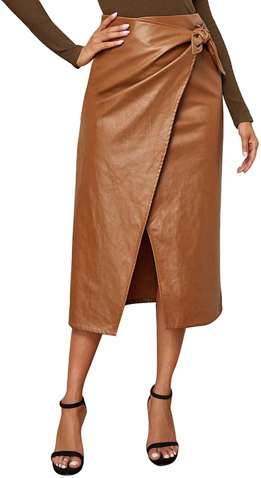 "<p>This <product href=""https://www.amazon.com/SweatyRocks-Womens-Elegant-Waist-Leather/dp/B07YY4NFCP/ref=sr_1_10?dchild=1&amp;keywords=leather+skirts+for+women&amp;qid=1601334606&amp;sr=8-10"" target=""_blank"" class=""ga-track"" data-ga-category=""internal click"" data-ga-label=""https://www.amazon.com/SweatyRocks-Womens-Elegant-Waist-Leather/dp/B07YY4NFCP/ref=sr_1_10?dchild=1&amp;keywords=leather+skirts+for+women&amp;qid=1601334606&amp;sr=8-10"" data-ga-action=""body text link"">SweatyRocks Elegant High Waist Skirt</product> ($24) is the perfect fall piece.</p>"