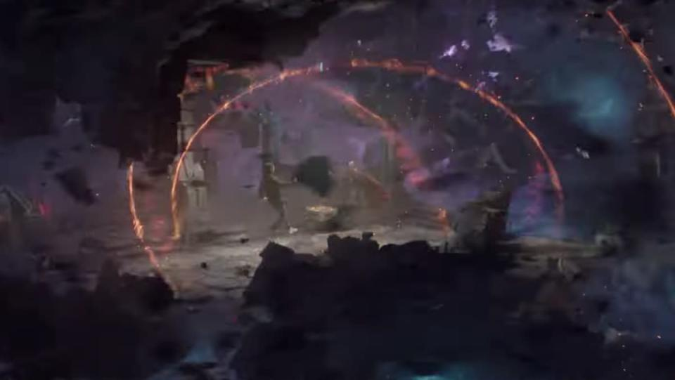 A swirl of purple and colors surround Doctor Strange and Peter Parker during a failed spell