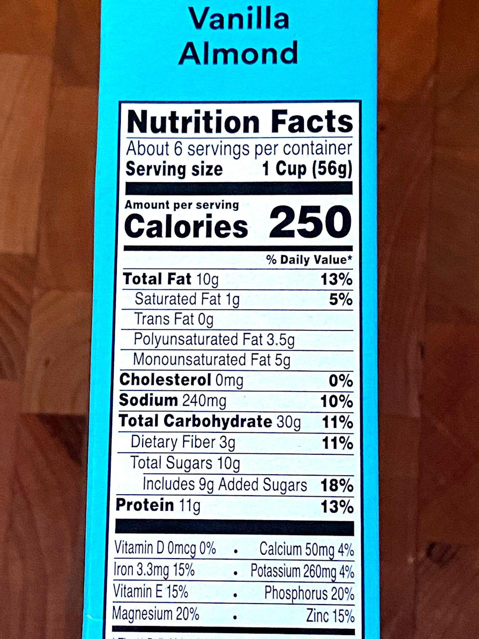 <p>For a one-cup serving of Vanilla Almond RX Cereal, it has 250 calories, 10 grams of fat and one gram of saturated fat. It offers 30 grams of carbs, three grams of fiber, 11 grams of protein, and has just nine grams of added sugar. </p> <p>See the slide before for info on what unsweetened soy or almond milk will add to your bowl.</p>
