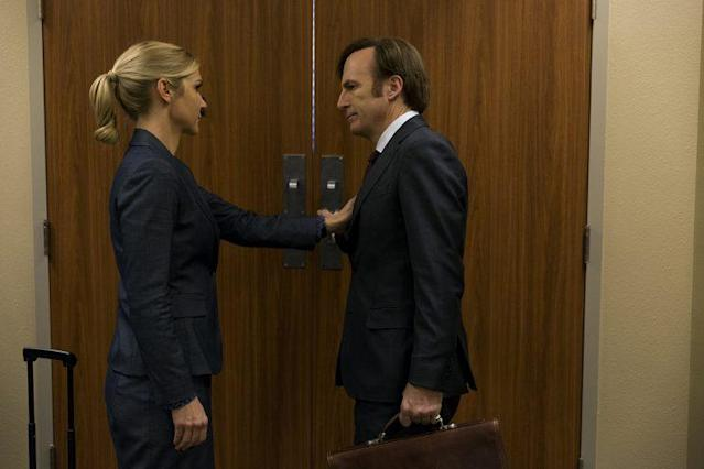 Rhea Seehorn as Kim Wexler and Bob Odenkirk as Jimmy McGill in AMC's <em>Better Call Saul</em>. (Photo: Michele K. Short/AMC)