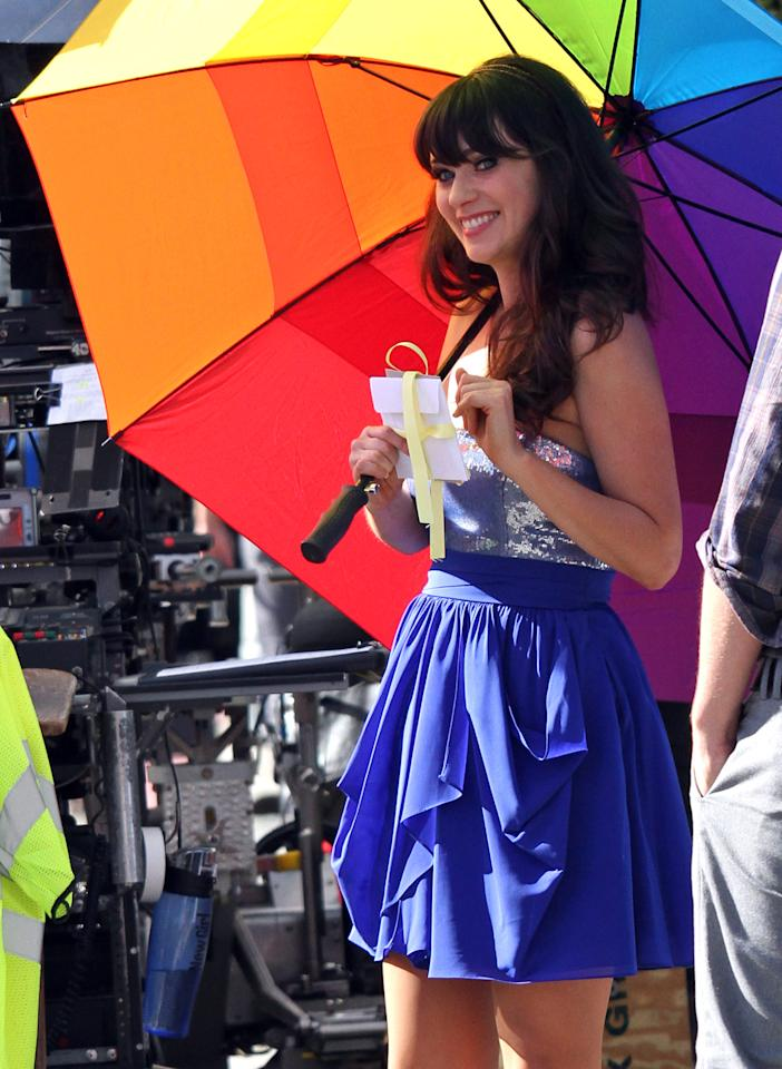 "LOS ANGELES, CA - OCTOBER 11: Zooey Deschanel is seen on location for ""New Girl"" on October 11, 2011 in Los Angeles, California. (Photo by JB Lacroix/WireImage)"