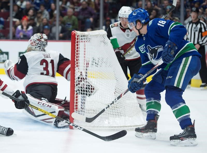 Jake Virtanen channels his junior days to score winner in Canucks' 3-1 win over Coyotes