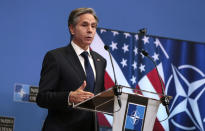 U.S. Secretary of State Antony Blinken speaks during a media conference after a meeting of NATO foreign ministers at NATO headquarters in Brussels on Wednesday, March 24, 2021. (AP Photo/Virginia Mayo, Pool)
