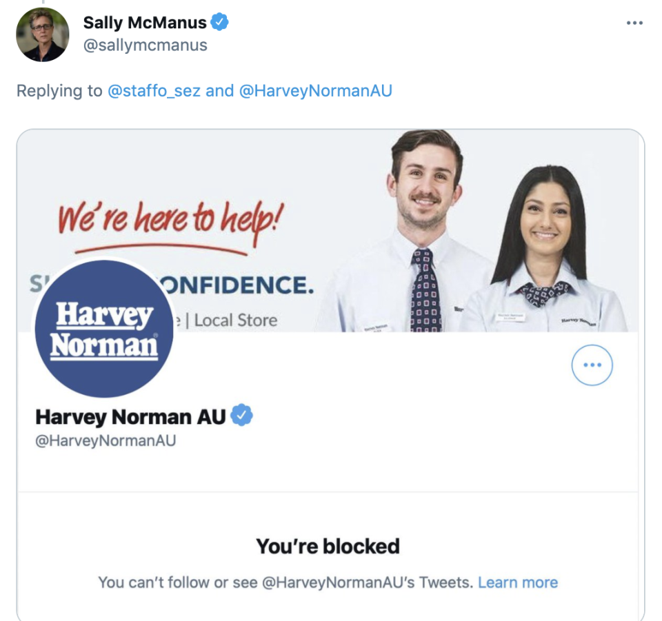 Sally McManus was among the many to be blocked by the department store's official account.