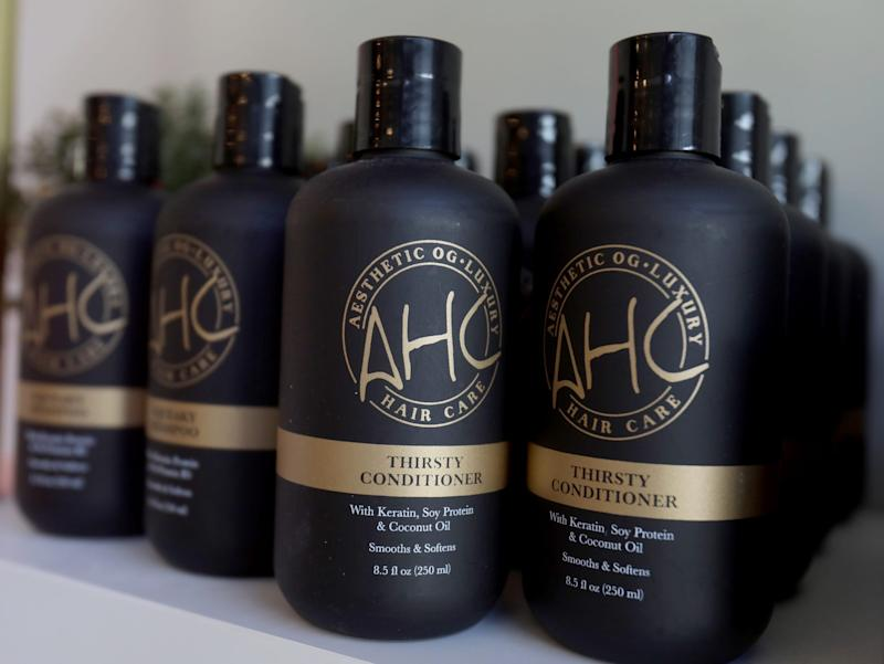 Some of the Aesthetic Hair Co. hair products on the shelf at Ferndale co-owned by Alex Pardoe 25.