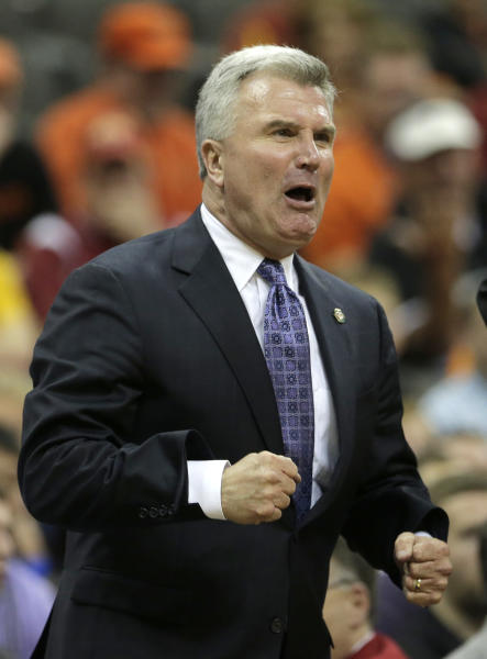 Kansas State coach Bruce Weber reacts to a call during the second half an NCAA college basketball game against Oklahoma State in the Big 12 men's tournament Friday, March 15, 2013, in Kansas City, Mo. Kansas State won the game 68-57. (AP Photo/Charlie Riedel)