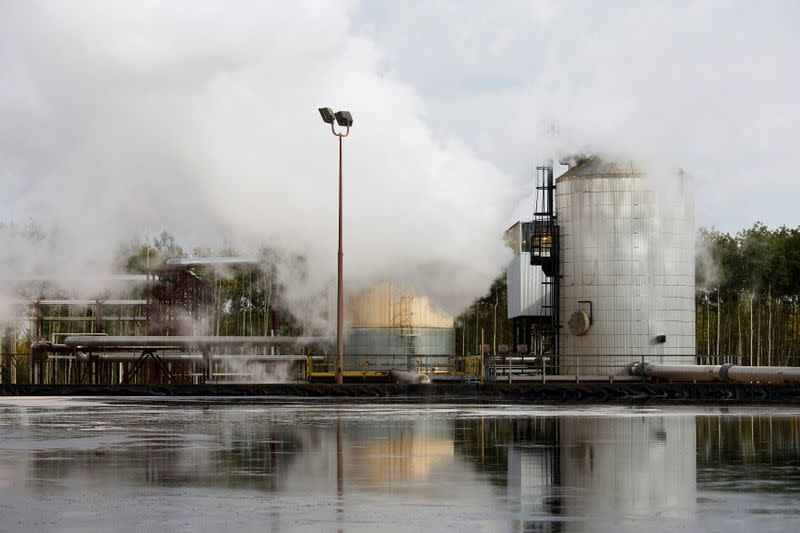 FILE PHOTO: A water treatment pond at the McKay River Suncor oil sands in-situ operations near Fort McMurray.