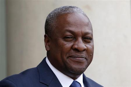 Ghana's President John Dramani Mahama arrives for a meeting with France's President at the Elysee Palace in Paris