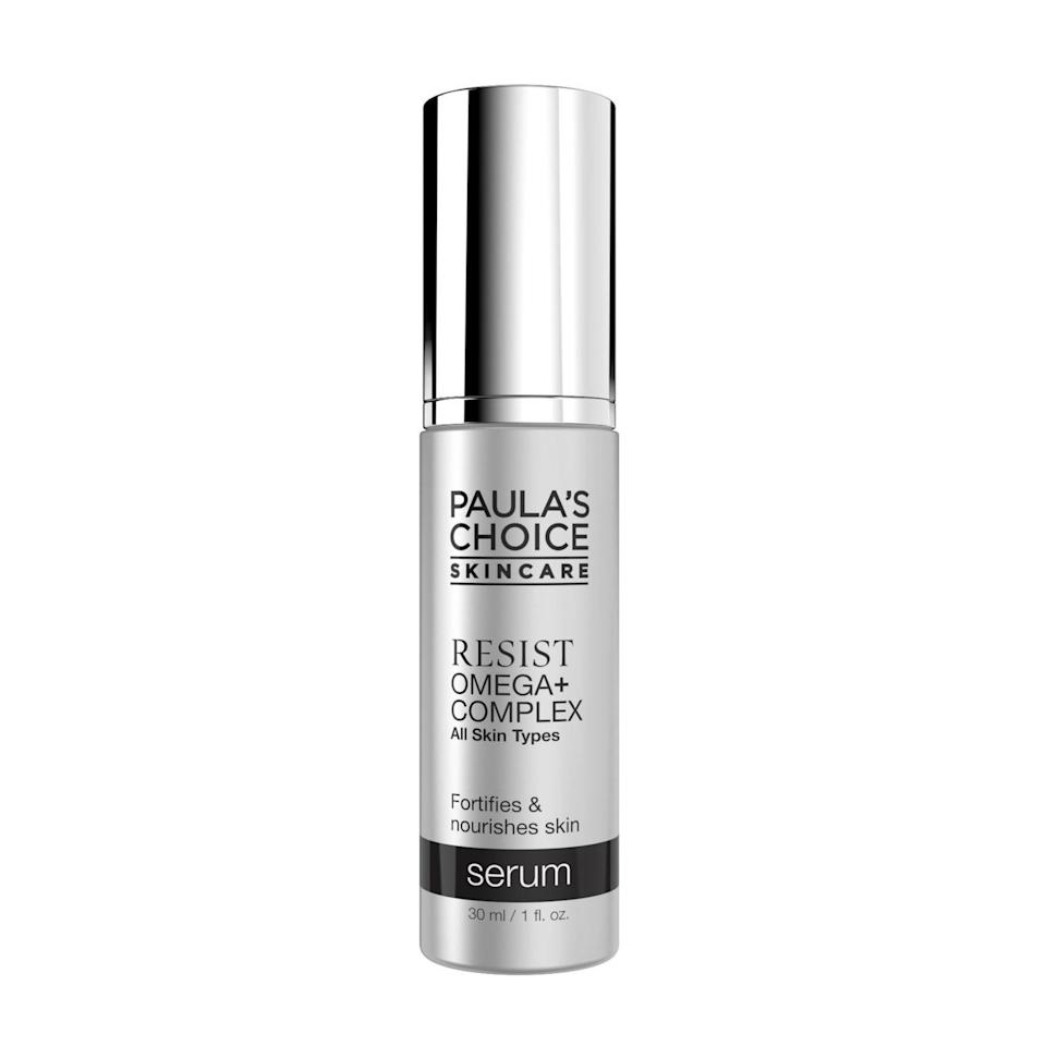 Shea butter and jojoba oil are some of the best natural ingredients to help soothe and nourish dry, dehydrated skin. You'll find both (plus omega fatty acids — hence the name) in the Paula's Choice Resist Omega+ Complex Serum.