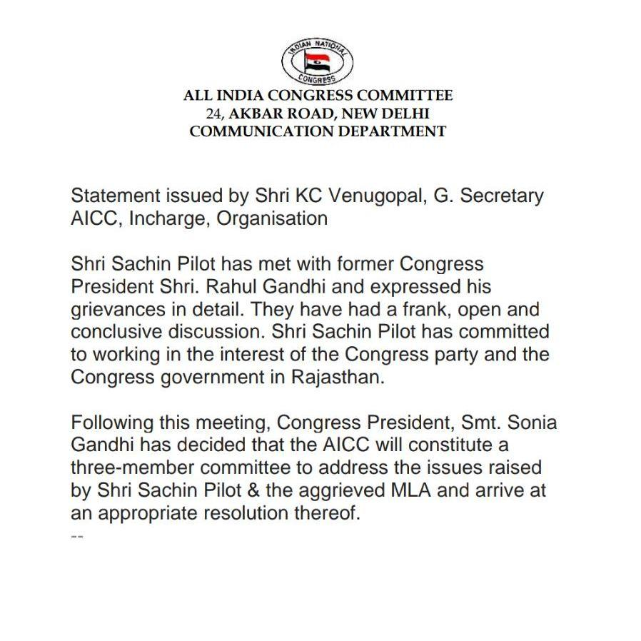 Congress party's statement on Sachin Pilot, 10 August