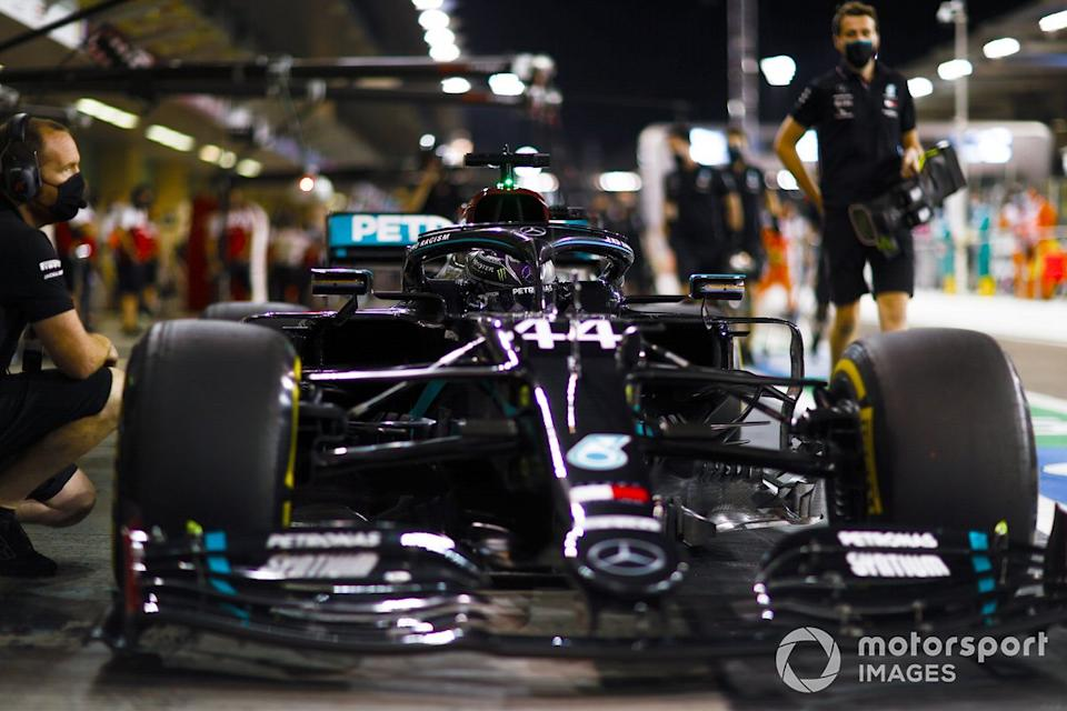 "Lewis Hamilton, Mercedes F1 W11, in the pit lane<span class=""copyright"">Andy Hone / Motorsport Images</span>"