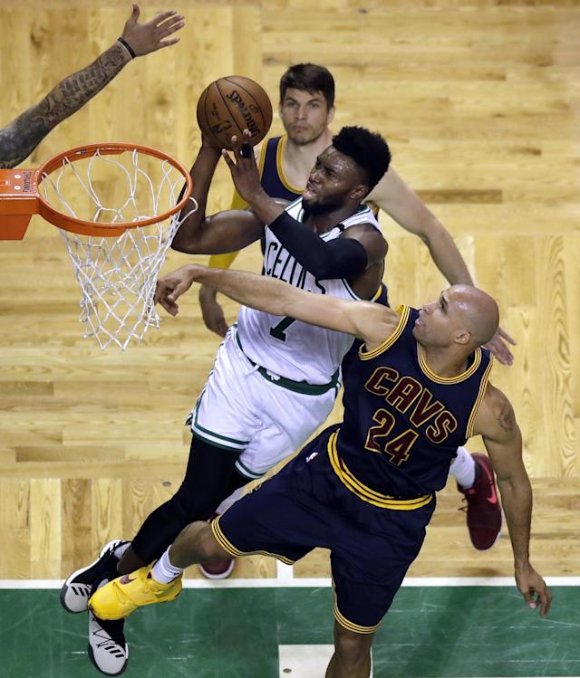 <p>Boston Celtics forward Jaylen Brown (7) drives past Cleveland Cavaliers forward Richard Jefferson (24) during the fourth quarter of Game 1 of the NBA basketball Eastern Conference finals, Wednesday, May 17, 2017, in Boston. (AP Photo/Charles Krupa) </p>