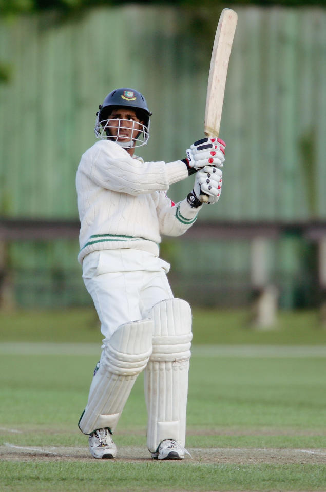 CAMBRIDGE, GREAT BRITAIN - MAY 10:  Mohammad Ashraful of Bangladesh strikes out on his way past fifty during the Tour match between British Universities and Bangladesh, at Fenners on May 10, 2005 in Cambridge, England.  (Photo by Richard Heathcote/Getty Images)
