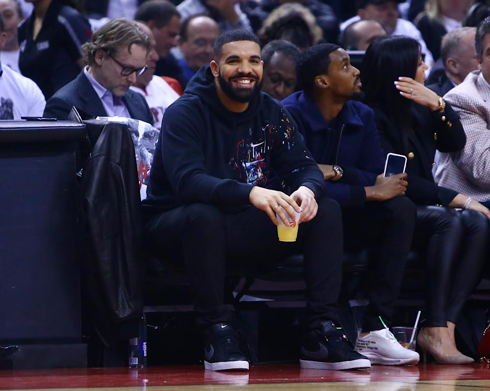 Singer Drake looks on from their court side seat during Game Two of the second round of the 2019 NBA Playoffs between the Toronto Raptors and the Philadelphia 76ers at Scotiabank Arena on April 29, 2019 in Toronto, Canada. (Photo by Vaughn Ridley/Getty Images)