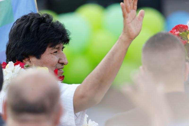 Bolivia's former President Evo Morales attends a celebration of Bolivia's Plurinational State Foundation Day, in Buenos Aires