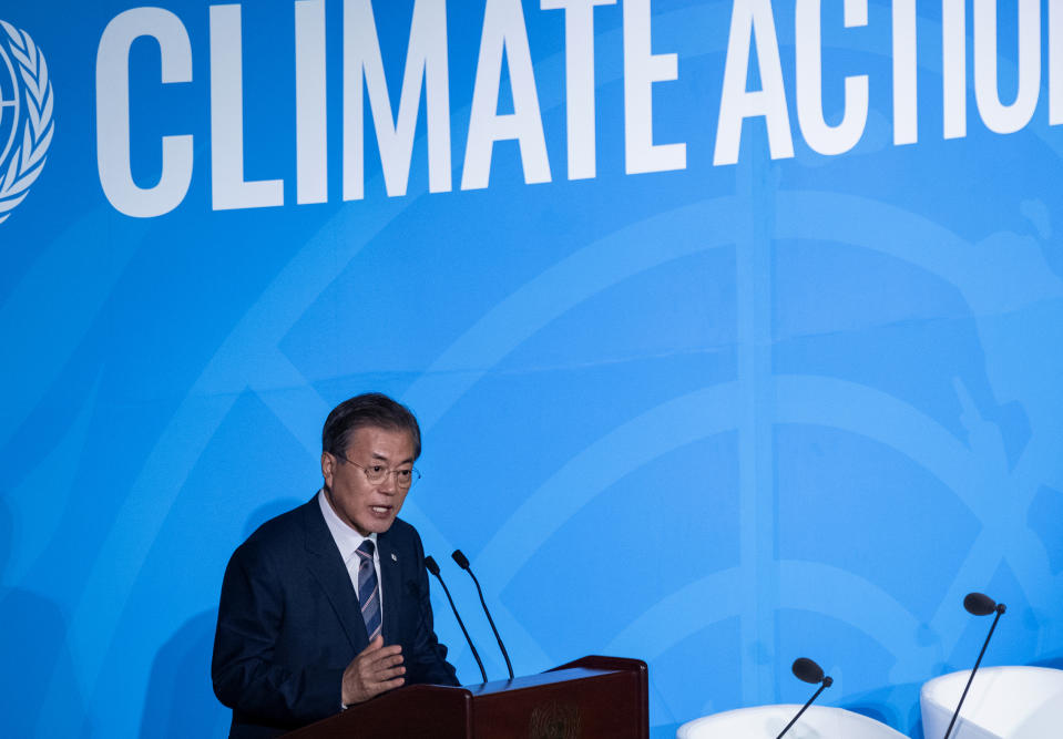 South Korea's President Moon Jae-in addresses the Climate Action Summit in the United Nations General Assembly, at U.N. headquarters, Monday, Sept. 23, 2019. (AP Photo/Craig Ruttle)