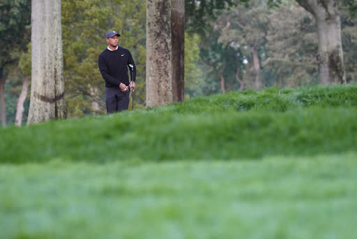 Tiger Woods watches his shot from the third fairway during practice before the U.S. Open Championship golf tournament at Winged Foot Golf Club, Wednesday, Sept. 16, 2020, in Mamaroneck, N.Y. (AP Photo/John Minchillo)