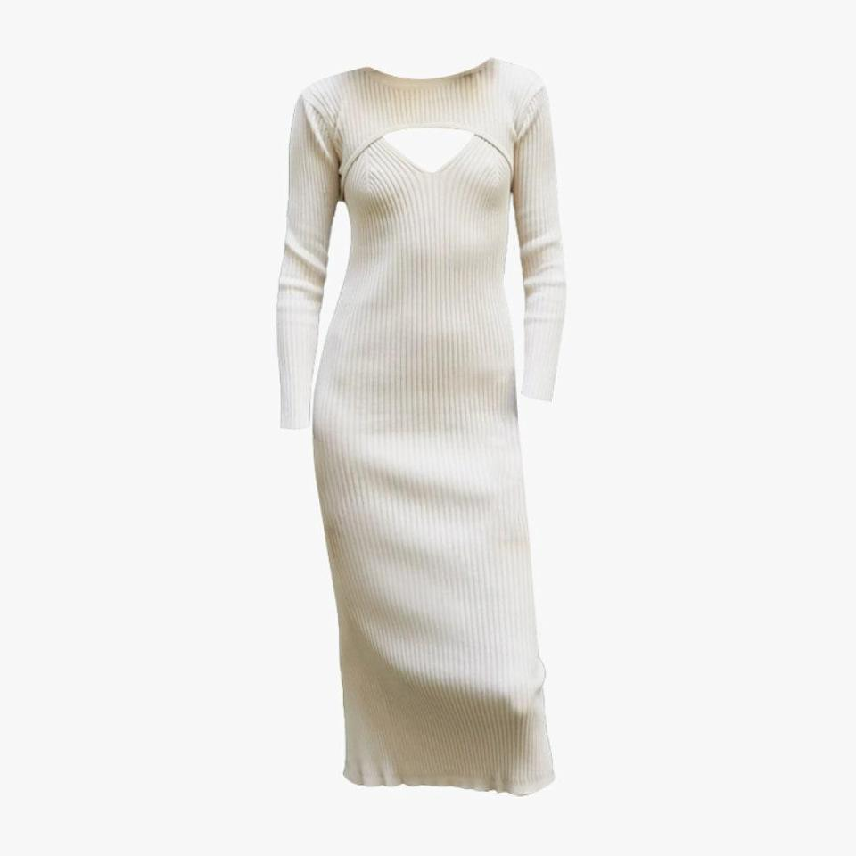 "$144, PIXIE MARKET. <a href=""https://www.pixiemarket.com/collections/dresses/products/ivory-bolero-knit-dress-set"" rel=""nofollow noopener"" target=""_blank"" data-ylk=""slk:Get it now!"" class=""link rapid-noclick-resp"">Get it now!</a>"