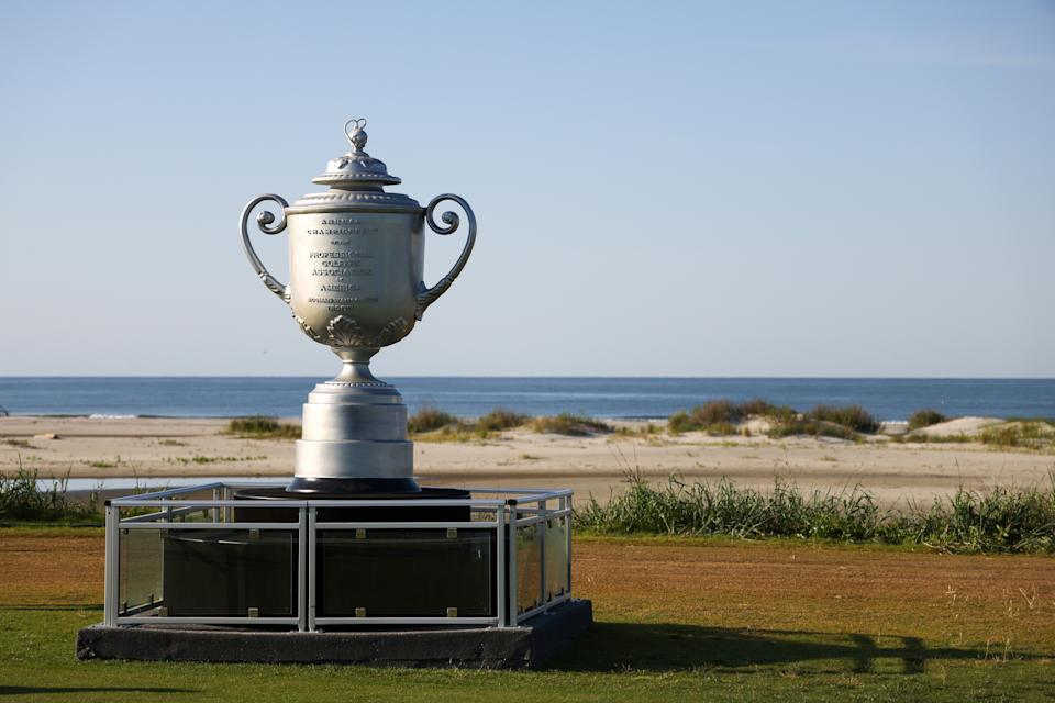KIAWAH ISLAND, SOUTH CAROLINA - MAY 17:  A large likeness of the Wanamaker Trophy is displayed during a practice round prior to the 2021 PGA Championship at Kiawah Island Resort's Ocean Course on May 17, 2021 in Kiawah Island, South Carolina. (Photo by Patrick Smith/Getty Images)