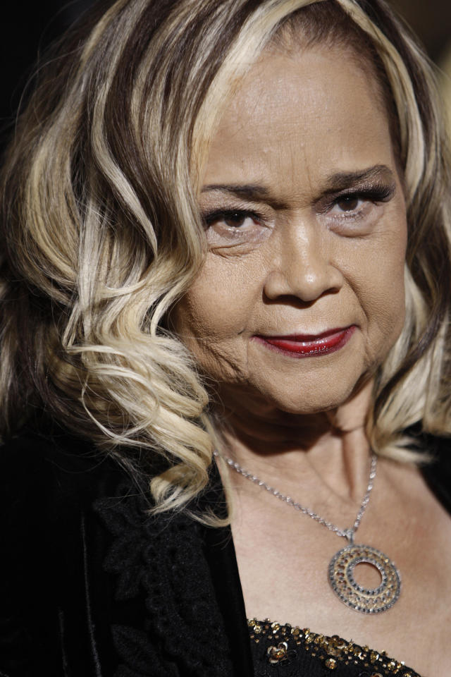 "FILE - This Nov. 24, 2008 file photo shows Etta James arriving at the premiere of ""Cadillac Records"" in Los Angeles. ``At Last'' and ``Tell Mama'' blues singer Etta James, whose health has been fading in recent years, is now terminally ill and her live-in doctor is asking for prayers. Dr. Elaine James, who isn't related to the 73-year-old entertainer, tells the Riverside, Calif., Press-Enterprise that the singer's chronic leukemia was declared incurable two weeks ago. She's cared for James at the singer's Riverside area home since March 2010. (AP Photo/Matt Sayles, File)"