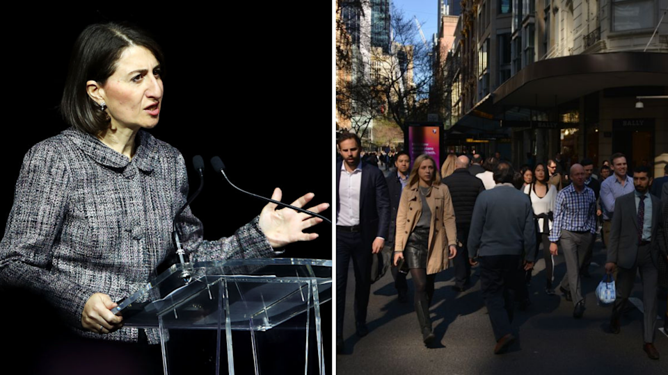 "NSW Premier Gladys Berejiklian (left) called for a ""breather"" in NSW migration flows in October. <em>Photos: Getty</em>"