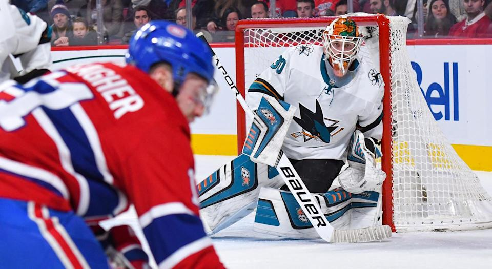 Aaron Dell has quietly compiled some fantastic numbers with the Sharks. (Photo by David Kirouac/Icon Sportswire via Getty Images)