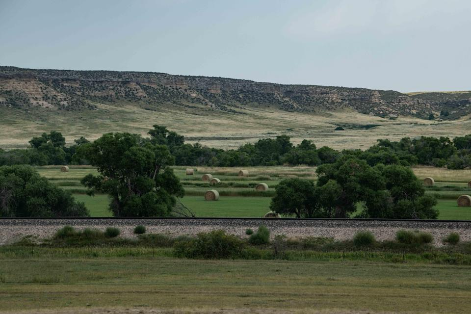 Aug 17, 2021; Plains, mountains and prairie cover the vast expanses between Douglas and Casper, Wyoming on Aug. 17, 2021.