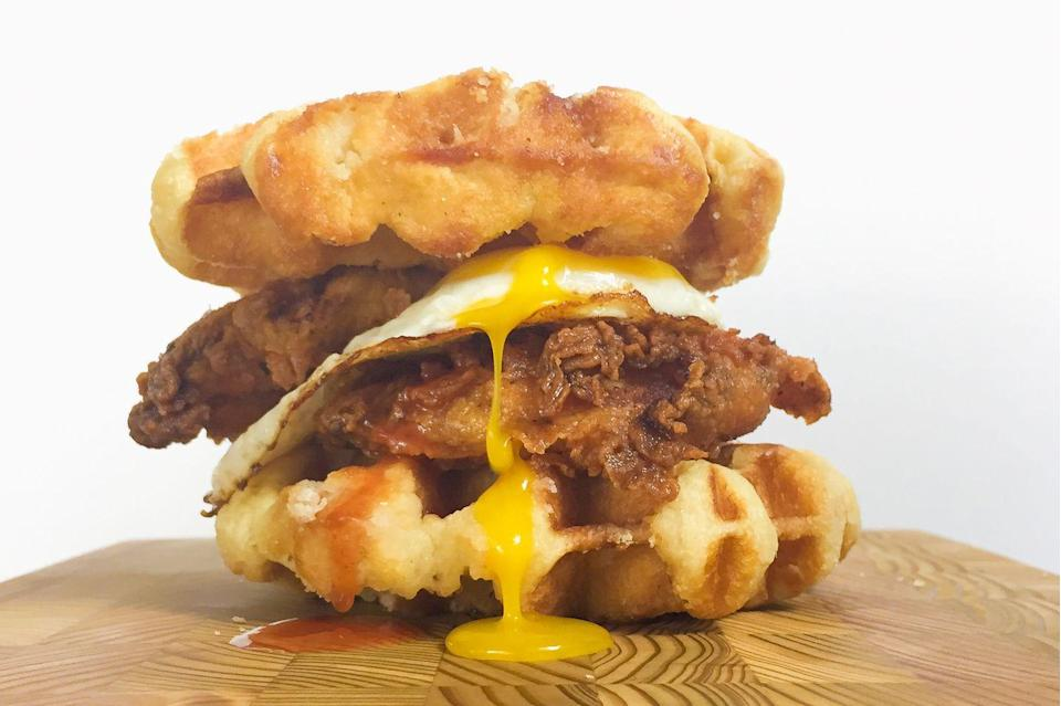 <p>Who needs buns when you've got waffles?</p><p>Get the recipe from <span>Delish</span>.</p>