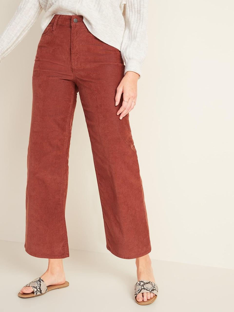 <p>Corduroy is such a quintessential fall texture, and we just love the terracotta color of these <span>Extra High-Waisted Wide-Leg Corduroy Crop Pants</span> ($23).</p>