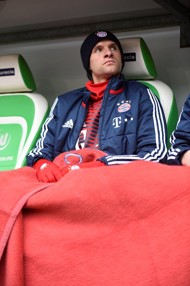 Soccer Football - Bundesliga - VfL Wolfsburg vs Bayern Munich - Volkswagen Arena, Wolfsburg, Germany - February 17, 2018 Bayern Munich's Thomas Muller sat on the bench before the match REUTERS/Fabian Bimmer DFL RULES TO LIMIT THE ONLINE USAGE DURING MATCH TIME TO 15 PICTURES PER GAME. IMAGE SEQUENCES TO SIMULATE VIDEO IS NOT ALLOWED AT ANY TIME. FOR FURTHER QUERIES PLEASE CONTACT DFL DIRECTLY AT + 49 69 650050