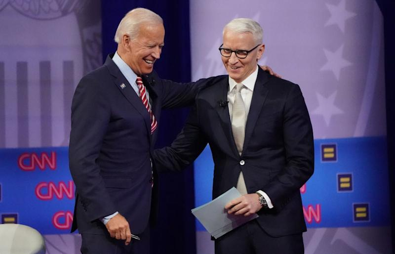 Joe Biden and Anderson Cooper were mocked on Twitter for breaking social distancing rules (Getty Images)