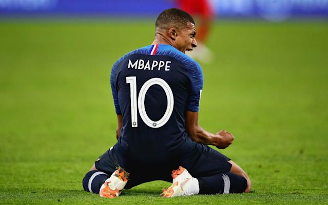 Kylian Mbappe celebrates during France's 1-0 World Cup win over Belgium on Tuesday. (AFP)