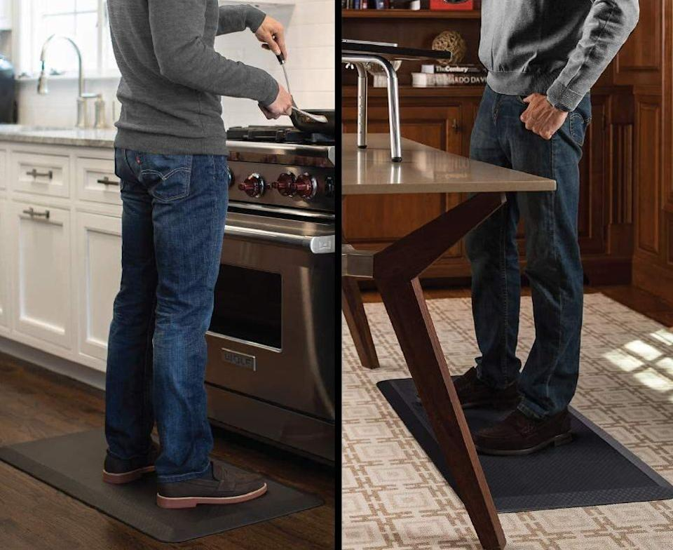 """It'll keep your feet comfy while you're standing for prolonged periods of time. It's perfect if you've got a huge pile of dishes to wash and dry, or if you'll need to stay comfortable by the counter while you meal prep for the week.<br /><br /><strong>Promising review:</strong>""""I bought one for the kitchen sink area; it was so comfortable I purchased a second one a week later for the stove area. These mats ARE THE BEST. They stay in place, clean up with just a damp cloth, do not smell nor are they sticky after a little use. I find I love standing on them (not necessarily because I like to do dishes) but because they are so comfortable. I truly believe that for the price you can not match these mats for their comfort. And they do have tapered edges so no tripping or stumbling over them. They are heavy and well-made and do not slip at all. If you know an elderly person who stands by the sink, stove or even at the bathroom sink for any length of time, this would make not only a great gift but a great surprise gift once they realize what it does for them."""" —<a href=""""https://amzn.to/3sqkMKj"""" target=""""_blank"""" rel=""""nofollow noopener noreferrer"""" data-skimlinks-tracking=""""5723569"""" data-vars-affiliate=""""Amazon"""" data-vars-asin=""""none"""" data-vars-href=""""https://www.amazon.com/gp/customer-reviews/R1OHR6OABXDJGM?tag=bfjasmin-20&ascsubtag=5723569%2C28%2C31%2Cmobile_web%2C0%2C0%2C14870752"""" data-vars-keywords=""""cleaning"""" data-vars-link-id=""""14870752"""" data-vars-price="""""""" data-vars-product-id=""""1"""" data-vars-product-img=""""none"""" data-vars-product-title=""""Placeholder- no product"""" data-vars-retailers=""""Amazon"""">PJH</a><br /><br /><strong>Get it from Amazon for <a href=""""https://amzn.to/3acYJkb"""" target=""""_blank"""" rel=""""noopener noreferrer"""">$36.99+</a> (available in 11 colors, and six sizes).</strong>"""