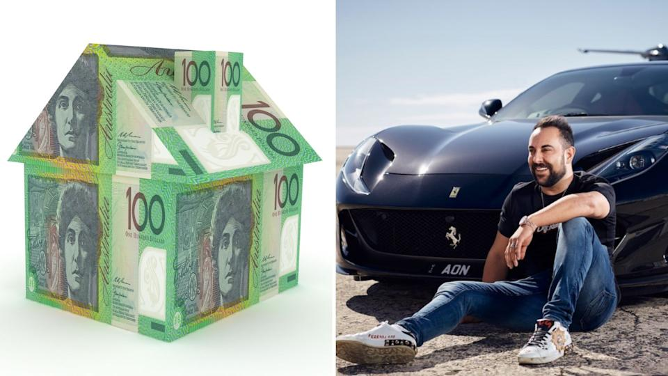 A composite image of house made of Australian $100 notes and Sam Bashiry sitting in front of his expensive car.