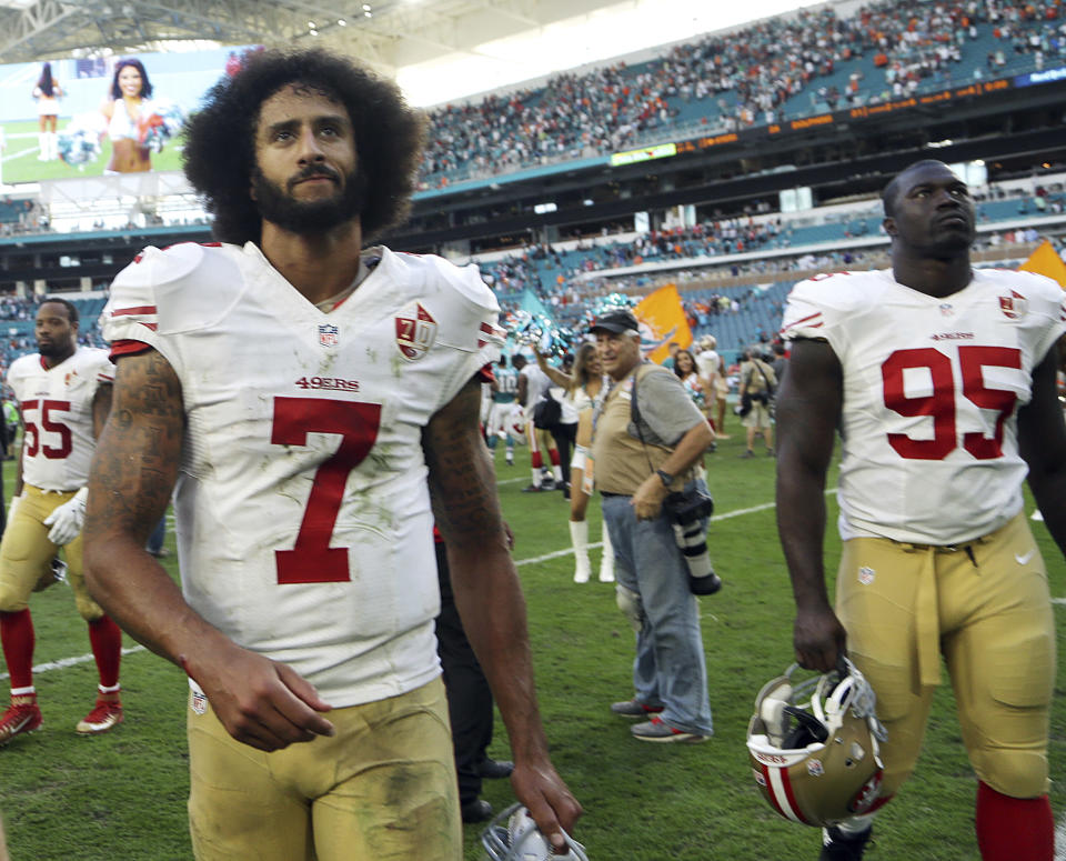 Depositions for the Colin Kaepernick grievance are slated to begin this month. (AP)