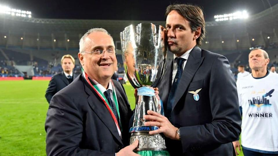 Claudio Lotito, Simone Inzaghi   Marco Rosi/Getty Images