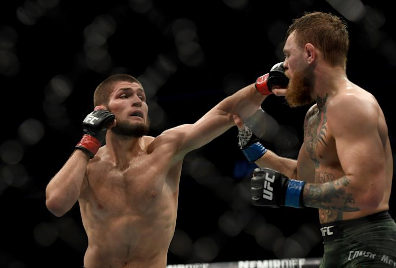 Khabib Nurmagomedov says the only time he's ever gotten any pleasure from beating an opponent is when he beat Conor McGregor. (Photo by Hans Gutknecht/Digital First Media/Los Angeles Daily News via Getty Images)
