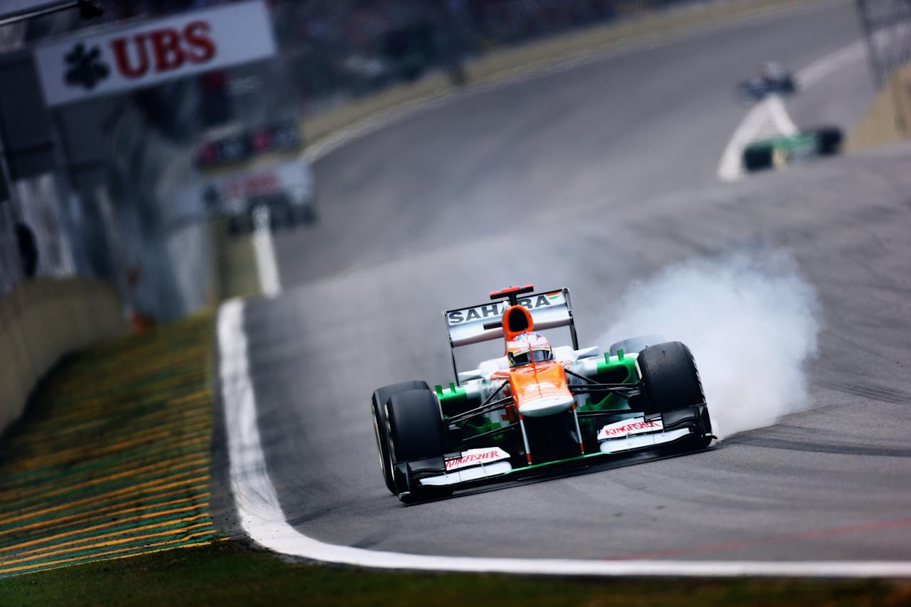 SAO PAULO, BRAZIL - NOVEMBER 24:  Paul di Resta of Great Britain and Force India drives during qualifying for the Brazilian Formula One Grand Prix at the Autodromo Jose Carlos Pace on November 24, 2012 in Sao Paulo, Brazil.  (Photo by Paul Gilham/Getty Images)