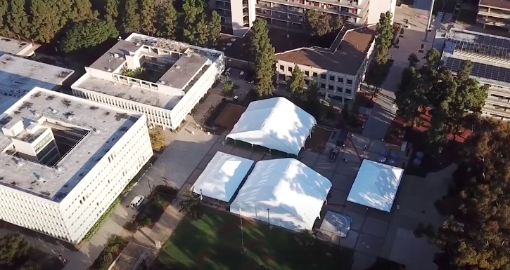 UCSD has built four tent-like structures for classes and study.