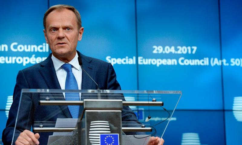 European council President Donald Tusk after the special meeting of the council to set out guidelines for the Brexit negotiations.