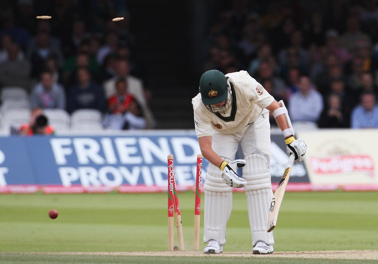 LONDON - JULY 20: Peter Siddle of Australia is bowled by Andrew Flintoff of England during day five of the npower 2nd Ashes Test Match between England and Australia at Lord's on July 20, 2009 in London, England.  (Photo by Hamish Blair/Getty Images)